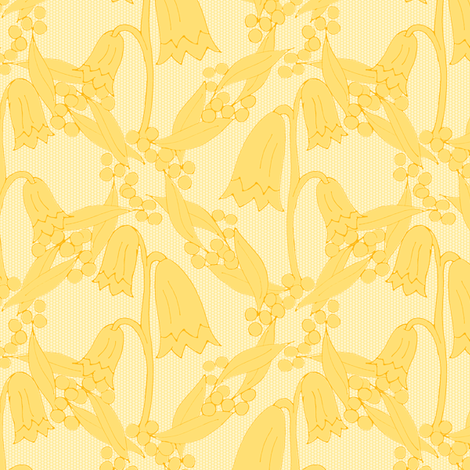 Christmas Bells and Golden Wattle - Silhouettes in Tonal Golds. fabric by rhondadesigns on Spoonflower - custom fabric