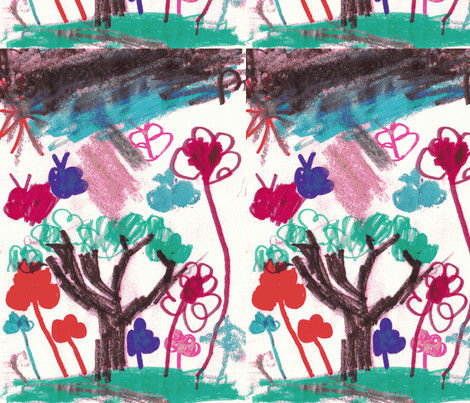 Ellie's flower garder fabric by lalalollipop on Spoonflower - custom fabric