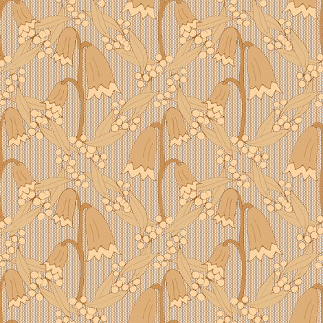 Christmas Bells and Golden Wattle - Tonal Biscuit.  fabric by rhondadesigns on Spoonflower - custom fabric