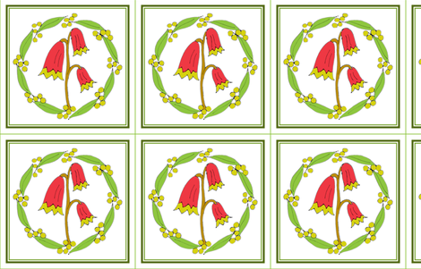 Christmas Bells and Golden Wattle, Wreath Panels with Green Border fabric by rhondadesigns on Spoonflower - custom fabric