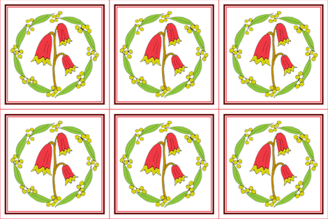 Christmas Bells and Golden Wattle Wreath Panels with Red Border. fabric by rhondadesigns on Spoonflower - custom fabric