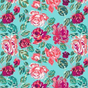 Cross roses aqua