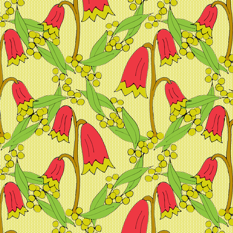 Christmas Bells and Golden Wattle on Chartreuse Dots. fabric by rhondadesigns on Spoonflower - custom fabric