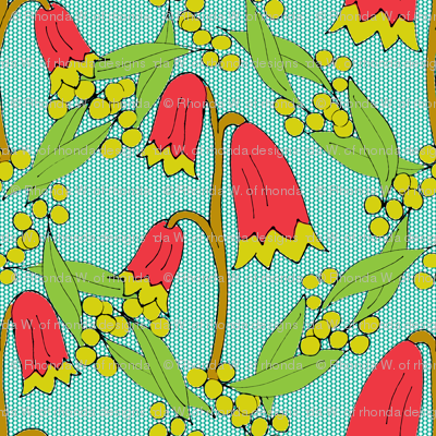 Christmas Bells and Golden Wattle - on Teal Dots -Medium Scale