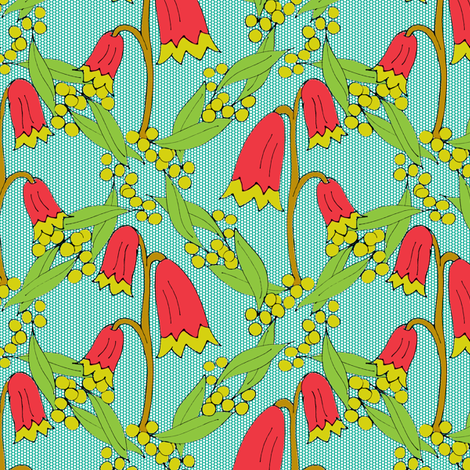 Christmas Bells and Golden Wattle - on Teal Dots -Medium Scale fabric by rhondadesigns on Spoonflower - custom fabric