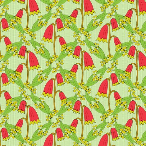 Christmas Bells and Golden Wattle - On Green Dots.  fabric by rhondadesigns on Spoonflower - custom fabric