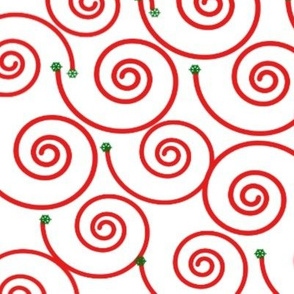 Red and Green Design on White