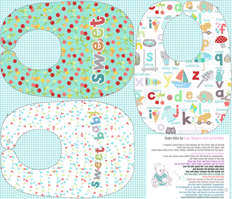 Cherry sweet baby bibs sewing template fabric by katarina on Spoonflower - custom fabric