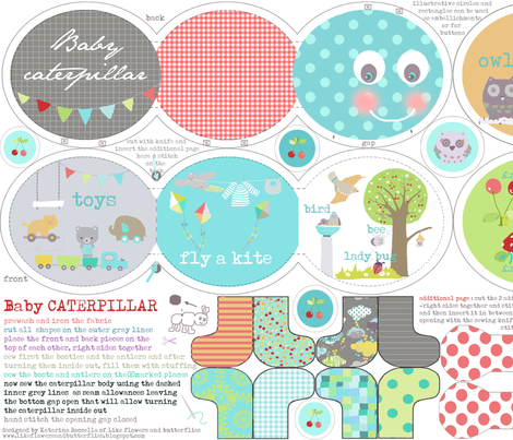 "caterpillar baby book for canvas fabric option ( 27x 18"") fabric by katarina on Spoonflower - custom fabric"