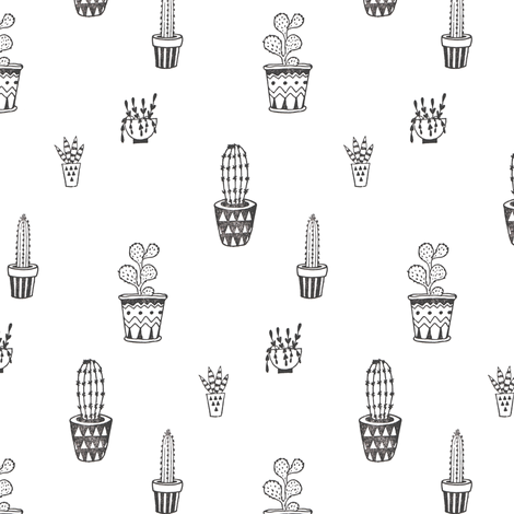 Cactus Pots in Black and White | Block Printed Cacti Succulents Southwest Plant Pots Garden Desert Summer Prints fabric by forest&sea on Spoonflower - custom fabric