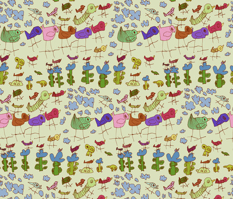 a flock of birds fabric by iiris on Spoonflower - custom fabric
