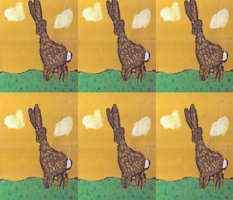 "Lars 6yo- ""bunny walking"" fabric by claudiavv on Spoonflower - custom fabric"