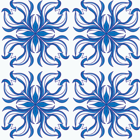 Blue and white tulips from Holland fabric by samvanvoorst on Spoonflower - custom fabric