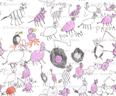 Pink Animals by Eislinn, age 7