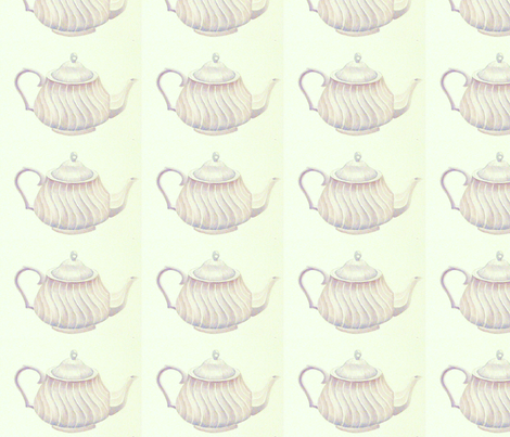 White Teapot fabric by painter13 on Spoonflower - custom fabric