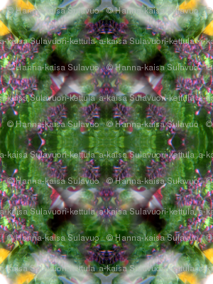 Lilac tree and a rhubarb leaves kaleidoscope