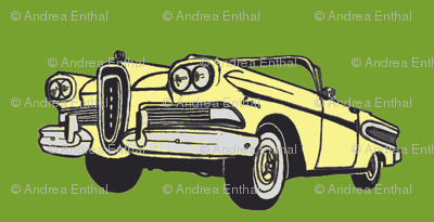 yellow 1958 Edsel Citation convertible on green background