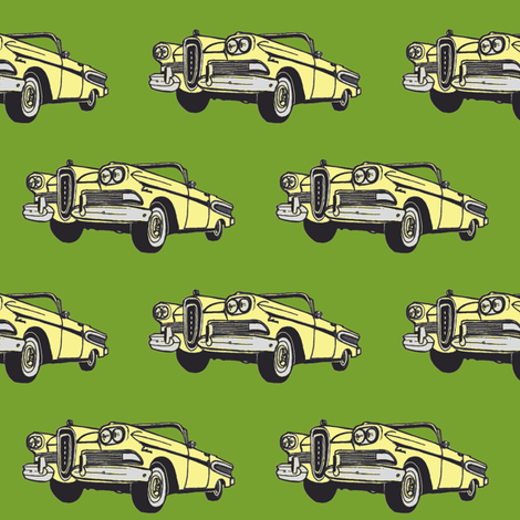 yellow 1958 Edsel Citation convertible on green background fabric by edsel2084 on Spoonflower - custom fabric