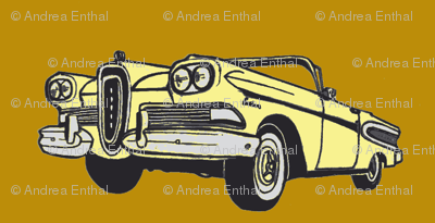 yellowl 1958 Edsel Citation convertible on honey mustard background