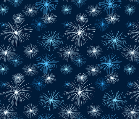 fireworks_blue fabric by ravynka on Spoonflower - custom fabric
