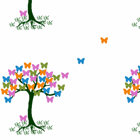 Small butterfly Tree fabric by catrionat on Spoonflower - custom fabric