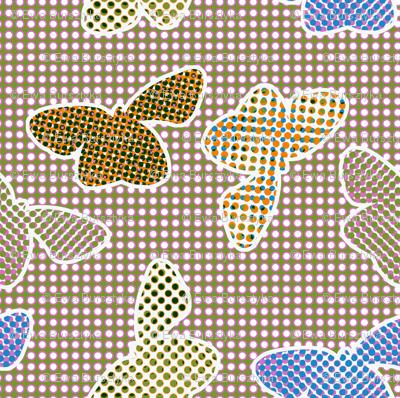 Retro butterflies in halftone pattern