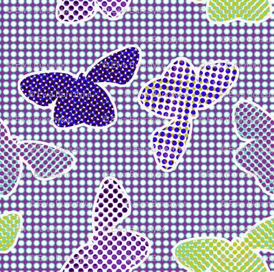 butterflies retro halftone - cold colorway