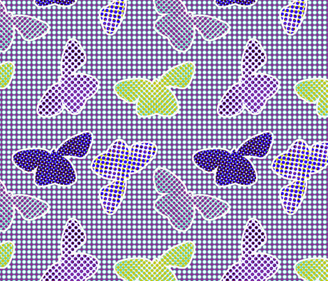 butterflies retro halftone - cold colorway fabric by ravynka on Spoonflower - custom fabric