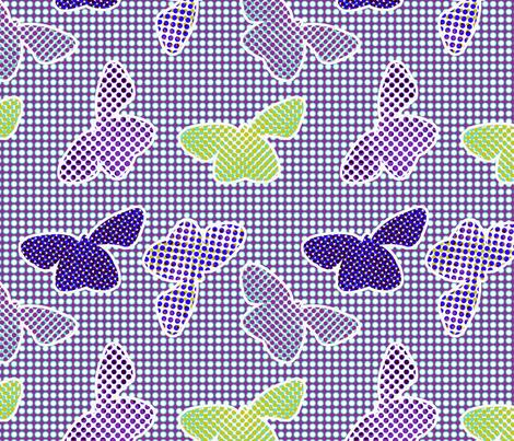 butterflies retro halftone - cold colorway fabric by ravynka on Spoonflower - custom fabric