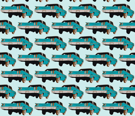 1960 Edsel Ranger 2 door sedan rear view aqua/turquoise fabric by edsel2084 on Spoonflower - custom fabric