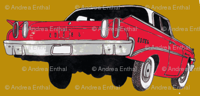 red 1960 Edsel Ranger on mustard background
