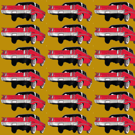 red 1960 Edsel Ranger on mustard background fabric by edsel2084 on Spoonflower - custom fabric