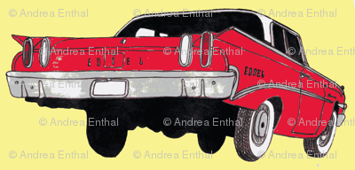 red 1960 Edsel Ranger on pale yellow background (straight rows)
