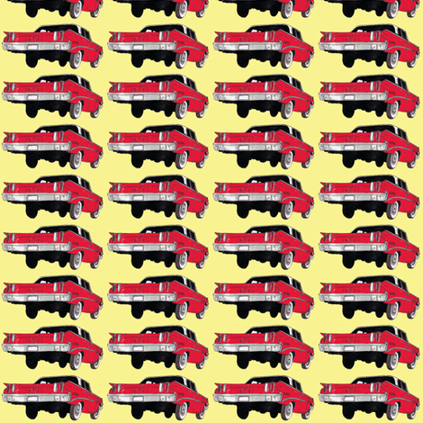 red 1960 Edsel Ranger on pale yellow background (straight rows) fabric by edsel2084 on Spoonflower - custom fabric