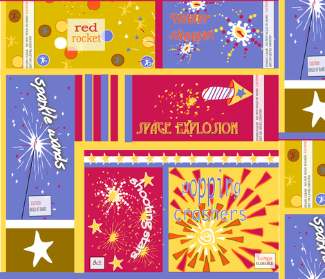 VINTAGE FIREWORK PACKAGES fabric by fabricfarmer_by_jill_bull on Spoonflower - custom fabric
