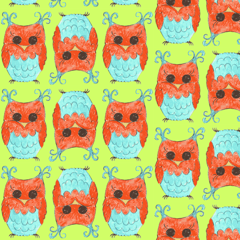 HOOTIE OWL-green fabric by garwooddesigns on Spoonflower - custom fabric