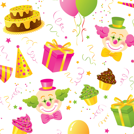 Birthday Party in pink and green fabric by jazzypatterns on Spoonflower - custom fabric