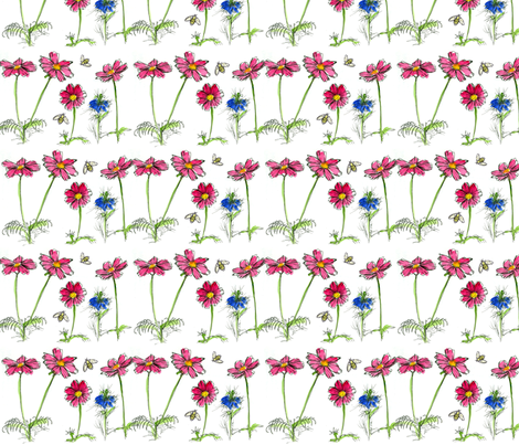 Honey Bee, Cosmos and Nigella fabric by countrygarden on Spoonflower - custom fabric