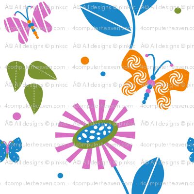 A Butterfly Filled Summer Garden Pretty hand drawn butterflies, flowers, and leaves by PinkSodaPop  © PinkSodaPop@4ComputerHeaven.com
