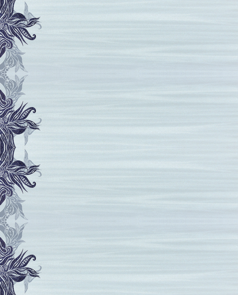 Blue abstract floral border  fabric by janicesheen on Spoonflower - custom fabric
