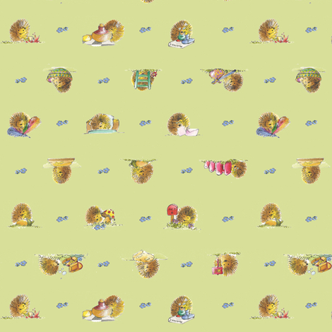 The Hedgehog - Green - © Alex Colombo fabric by studioalex on Spoonflower - custom fabric