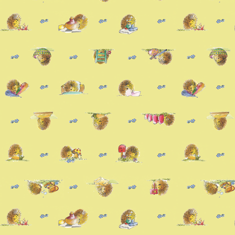 The Hedgehog, Yellow | alexcolombo.com fabric by studioalex on Spoonflower - custom fabric