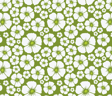 sweet white flowers fabric by caresa on Spoonflower - custom fabric