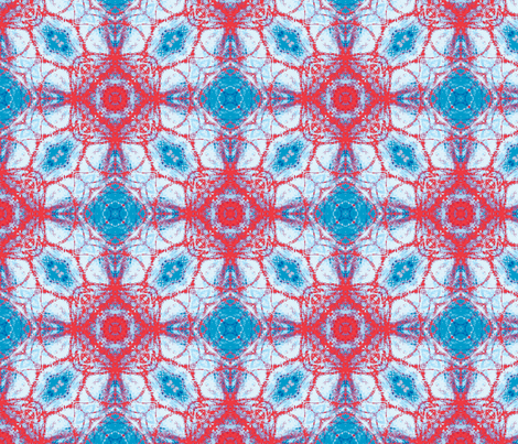 red star on blue water fabric by heikou on Spoonflower - custom fabric