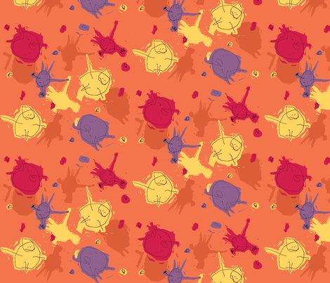 Alfred's Happy People - red fabric by woodledoo on Spoonflower - custom fabric