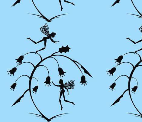 Silhouette_fairies_on_blue fabric by moonduster on Spoonflower - custom fabric