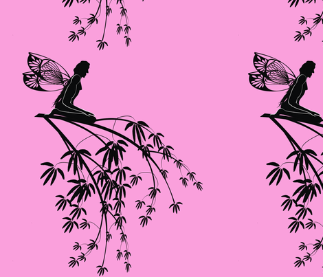 Silhouette_fairies_on_tree_branch_on_pink fabric by moonduster on Spoonflower - custom fabric
