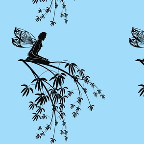 Silhouette_fairy_on_tree_branch_on_blue