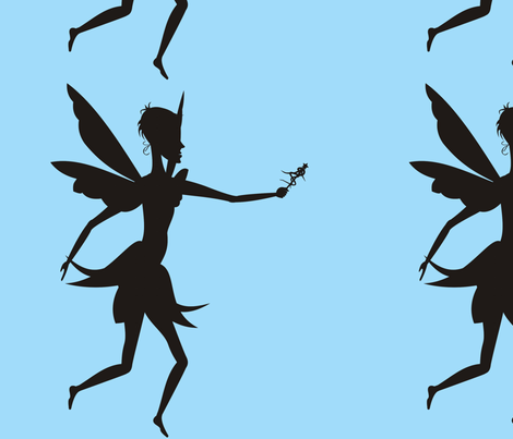 Silhouette_Fairy_with_wand_on_blue fabric by moonduster on Spoonflower - custom fabric