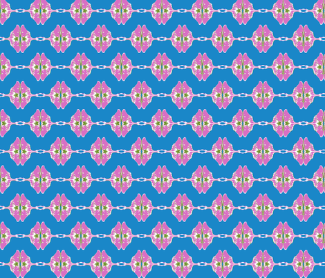 Pink Luna on Blue fabric by robin_rice on Spoonflower - custom fabric